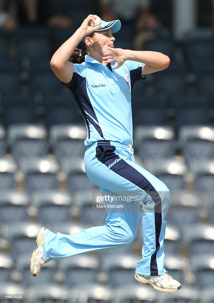 Sharon Millanta of the Breakers bowls during the women's Twenty20 match between the New South Wales Breakers and the Tasmania Roar at Blacktown International Sportspark on December 9, 2012 in Sydney, Australia.