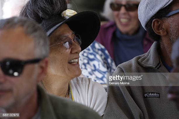 Sharon Morten is all smiles while taking the first trip on the Metro Expo Line in Santa Monica on May 20 2016 The 66 mile rail extension from Santa...
