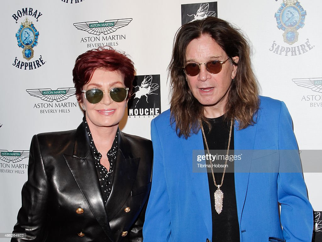 Sharon Osbourne and Ozzy Osbourne attend the VIP opening reception for 'Dis-Ease', an evening of fine art with Billy Morrison at Mouche Gallery on September 2, 2015 in Beverly Hills, California.