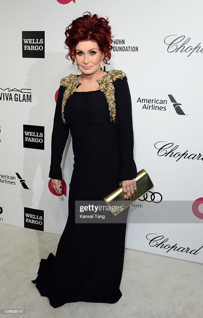 <a gi-track='captionPersonalityLinkClicked' href=/galleries/search?phrase=Sharon+Osbourne&family=editorial&specificpeople=203094 ng-click='$event.stopPropagation()'>Sharon Osbourne</a> arrives for the 22nd Annual Elton John AIDS Foundation's Oscar Viewing Party held at West Hollywood Park on March 2, 2014 in West Hollywood, California.