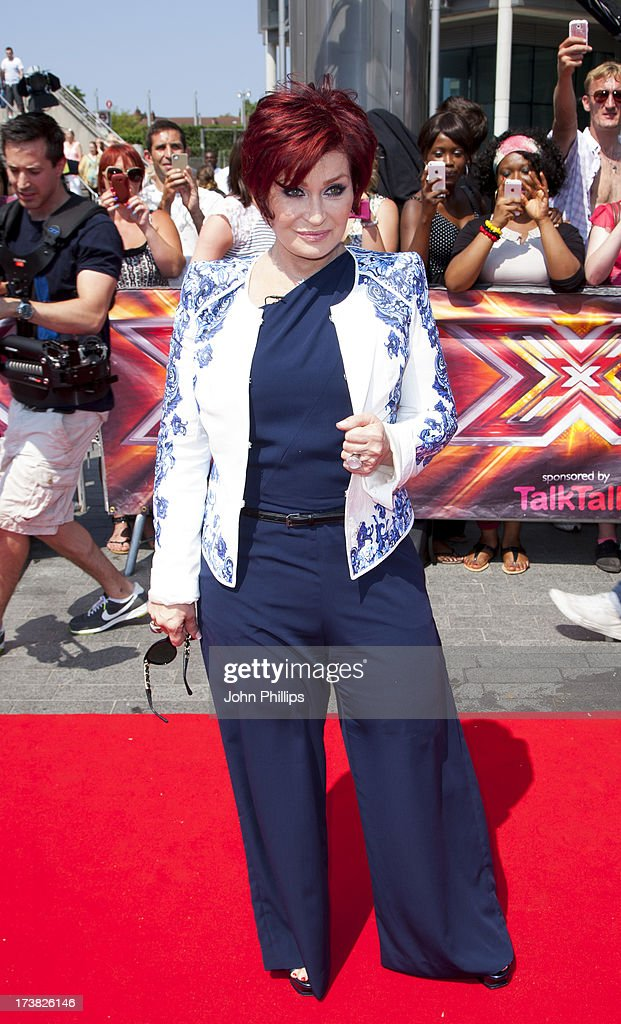 <a gi-track='captionPersonalityLinkClicked' href=/galleries/search?phrase=Sharon+Osbourne&family=editorial&specificpeople=203094 ng-click='$event.stopPropagation()'>Sharon Osbourne</a> arrives for the last day of the London auditions of The X Factor at Wembley Arena on July 18, 2013 in London, England.