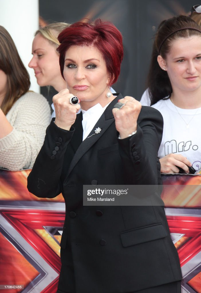 <a gi-track='captionPersonalityLinkClicked' href=/galleries/search?phrase=Sharon+Osbourne&family=editorial&specificpeople=203094 ng-click='$event.stopPropagation()'>Sharon Osbourne</a> arrives for the London auditions of 'The X Factor' at ExCel on June 19, 2013 in London, England.