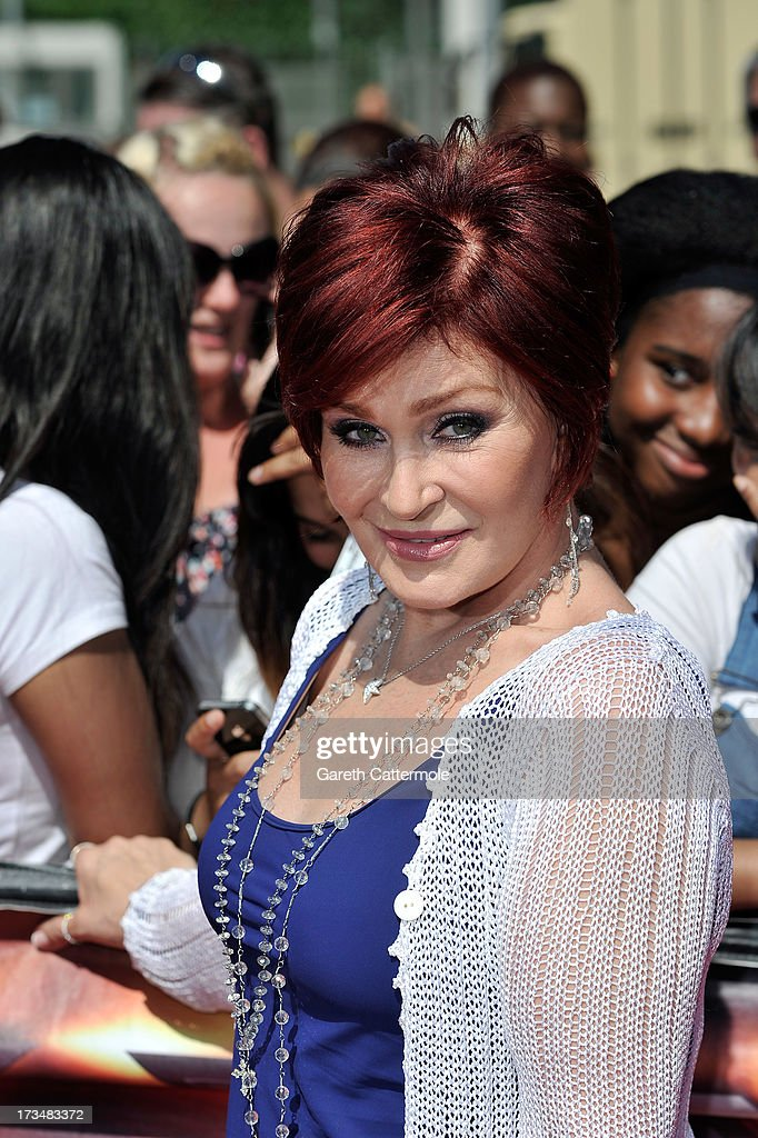 <a gi-track='captionPersonalityLinkClicked' href=/galleries/search?phrase=Sharon+Osbourne&family=editorial&specificpeople=203094 ng-click='$event.stopPropagation()'>Sharon Osbourne</a> arrives for the London auditions of The X Factor at Wembley Arena on July 15, 2013 in London, England.