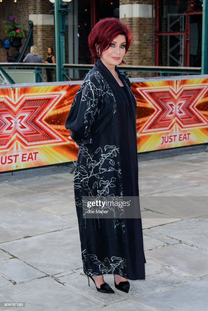 Sharon Osbourne arrives for the London auditions of The X Factor at Tobacco Dock on July 6, 2017 in London, England.