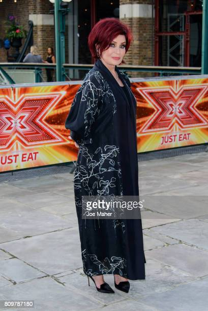 Sharon Osbourne arrives for the London auditions of The X Factor at Tobacco Dock on July 6 2017 in London England