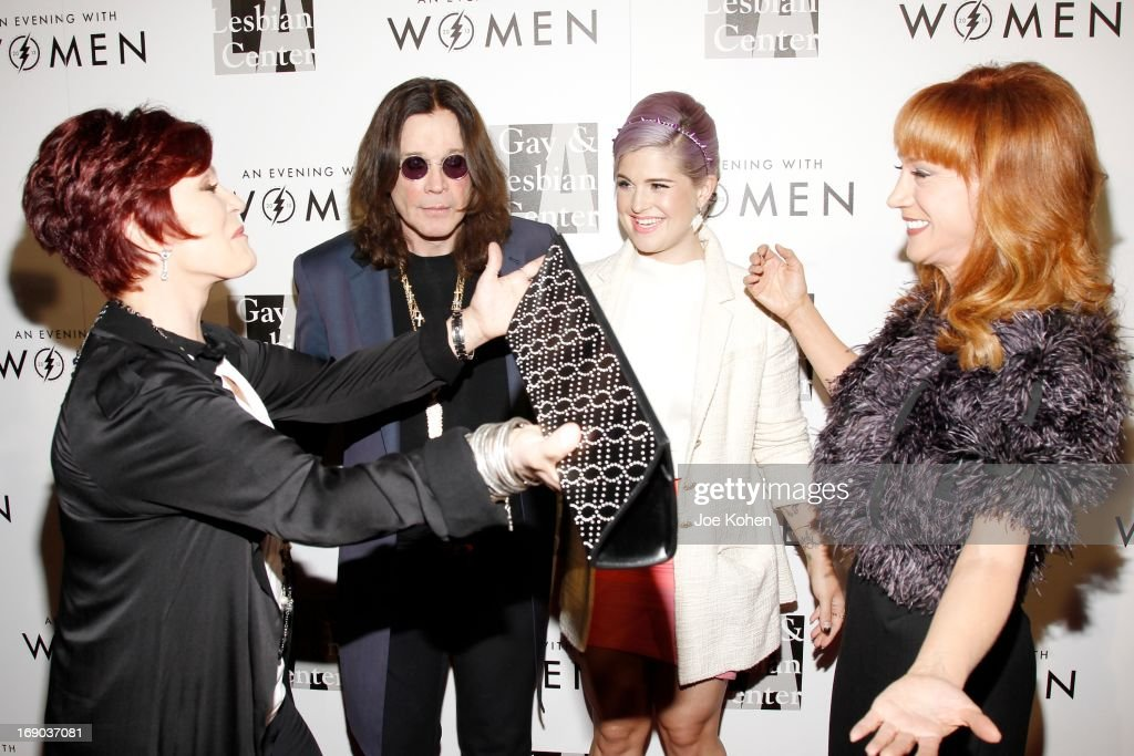 Sharon Osbourne, Ozzy Osbourne, Kelly Osbourne and Kathy Griffin attend the L.A. Gay & Lesbian Center's 2013 'An Evening With Women' Gala at The Beverly Hilton Hotel on May 18, 2013 in Beverly Hills, California.