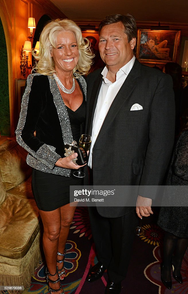 Sharon Pask (L) and Gary Pask attend a private dinner hosted by Fawaz Gruosi, founder of de Grisogono, at Annabels on April 28, 2016 in London, England.