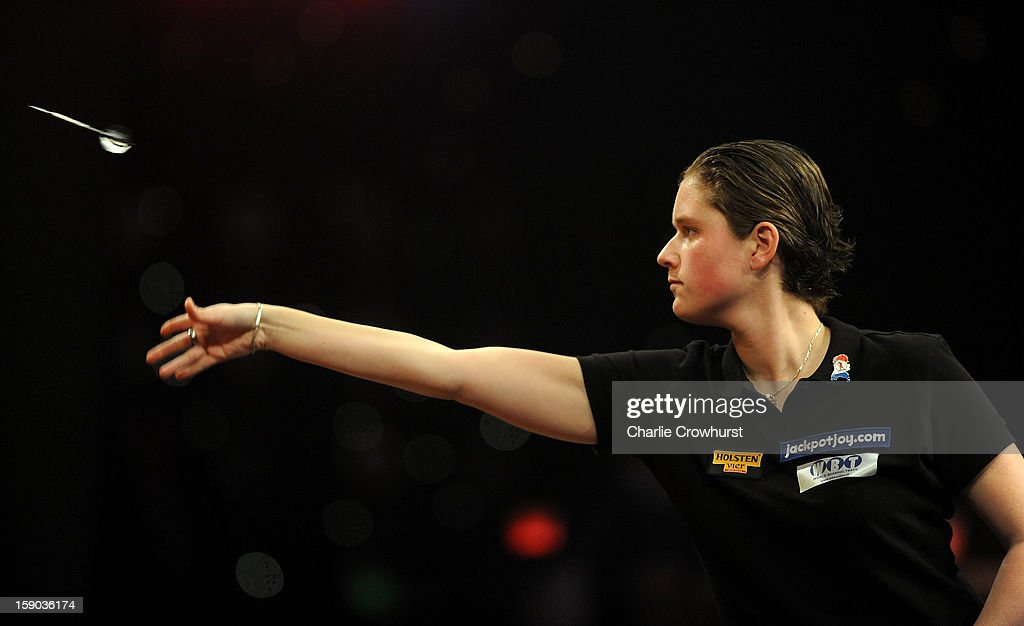 Sharon Prins of The Netherlands in action during her Quarter Final match against Irina Armstrong of Germany on day two of the BDO Lakeside World Professional Darts Championships at Lakeside Country Club on January 06, 2013 in London, England.