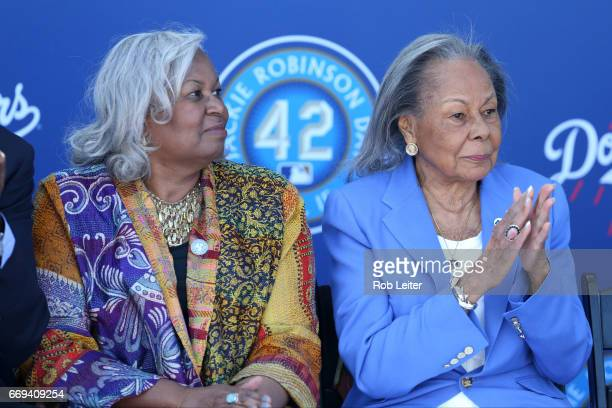 Sharon Robinson and Rachel Robinson look on at the unveiling of the Jackie Robinson statue before the game between the Arizona Diamondbacks and the...