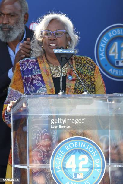 Sharon Robinson daughter of Jackie Robinson attends the Los Angeles Dodgers honoring Jackie Robinson with a statue on the 70th anniversary of his...