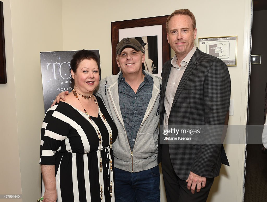 Sharon Sacks, Director Scott Ellis and Chairman of NBC entertainment Robert Greenblatt (R) attend The Tony Awards celebration of Broadway in Hollywood at Sunset Towers on March 25, 2015 in West Hollywood, California.