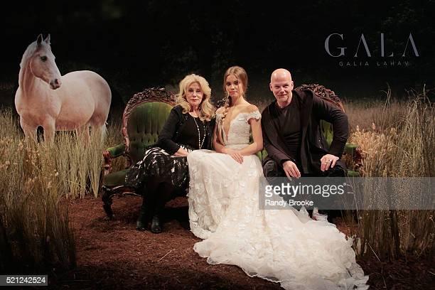 Sharon Sever and Galia Lahav and a model pose during the Galia Lahav Bridal Fashion Week Spring/Summer 2017 presentation on April 14 2016 in New York...