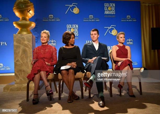 Sharon Stone Alfre Woodard Garrett Hedlund and Kristen Bell attend the 75th Annual Golden Globe Nominations Announcement on December 11 2017 in Los...