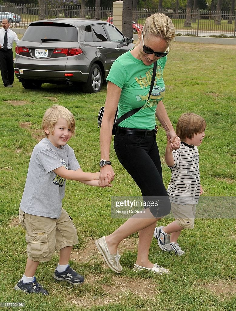 Sharon Stone and children arrive at the 21st Annual A Time For Heroes Celebrity Picnic sponsored by Disney to benefit The Elizabeth Glaser Pediatric AIDS Foundation on June 13, 2010 at the Wadsworth Theater on the VA Lawn in Los Angeles, California.