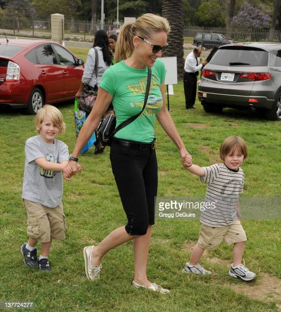 Sharon Stone and children arrive at the 21st Annual A Time For Heroes Celebrity Picnic sponsored by Disney to benefit The Elizabeth Glaser Pediatric...