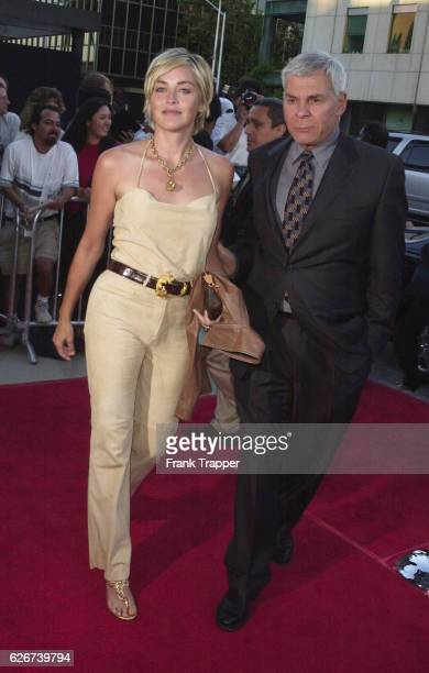 Sharon Stone and Ed Limato the great talent agent from International Creative Management at the 'AI Artificial Intelligence' premiere