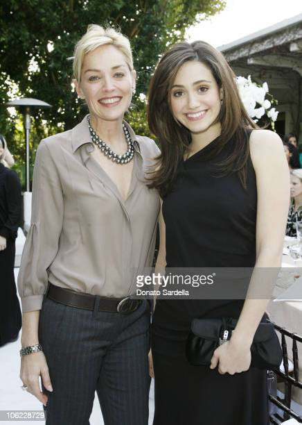 Sharon Stone and Emmy Rossum during Dior Beauty Celebrates the launch of L'or De Vie at Private Residence in Beverly Hills California United States