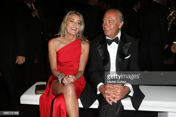 Sharon Stone and Fawaz Gruosi attend the 'De Grisogono' Party At Hotel Du Cap Eden Roc on May 21 2013 in Antibes France