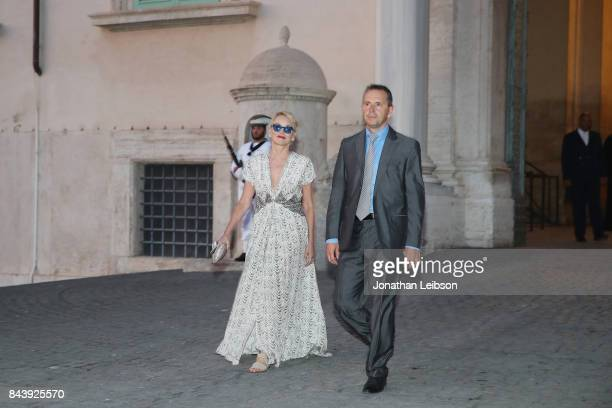 Sharon Stone and guest attend the Dinner and Entertainment at Palazzo Colonna as part of the 2017 Celebrity Fight Night in Italy Benefiting The...