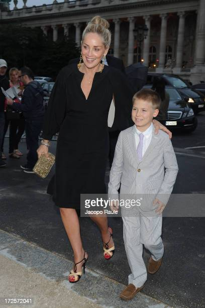 Sharon Stone and her son arrive at 'The Glory Of Water' Karl Lagerfeld's Exhibition Dinner at Fendi on July 3 2013 in Paris France