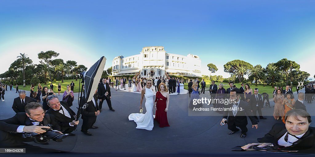 Sharon Stone and Jessica Chastain attend amfAR's 20th Annual Cinema Against AIDS during The 66th Annual Cannes Film Festival at Hotel du Cap-Eden-Roc on May 23, 2013 in Cap d'Antibes, France.