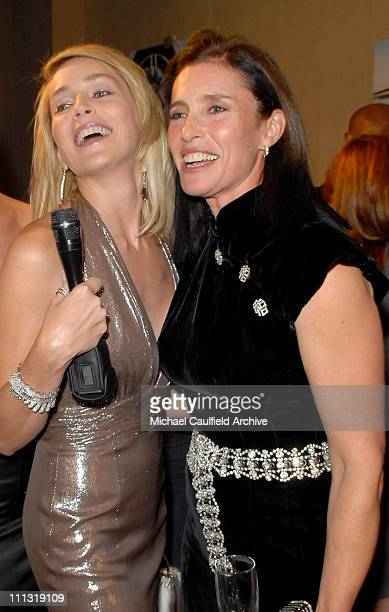 Sharon Stone and Mimi Rogers during MercedesBenz Presents the 17th Carousel of Hope Ball VIP Room at Beverly Hilton in Beverly Hills California...