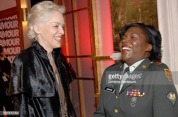 Sharon Stone and US Army Specialist Shoshana Johnson