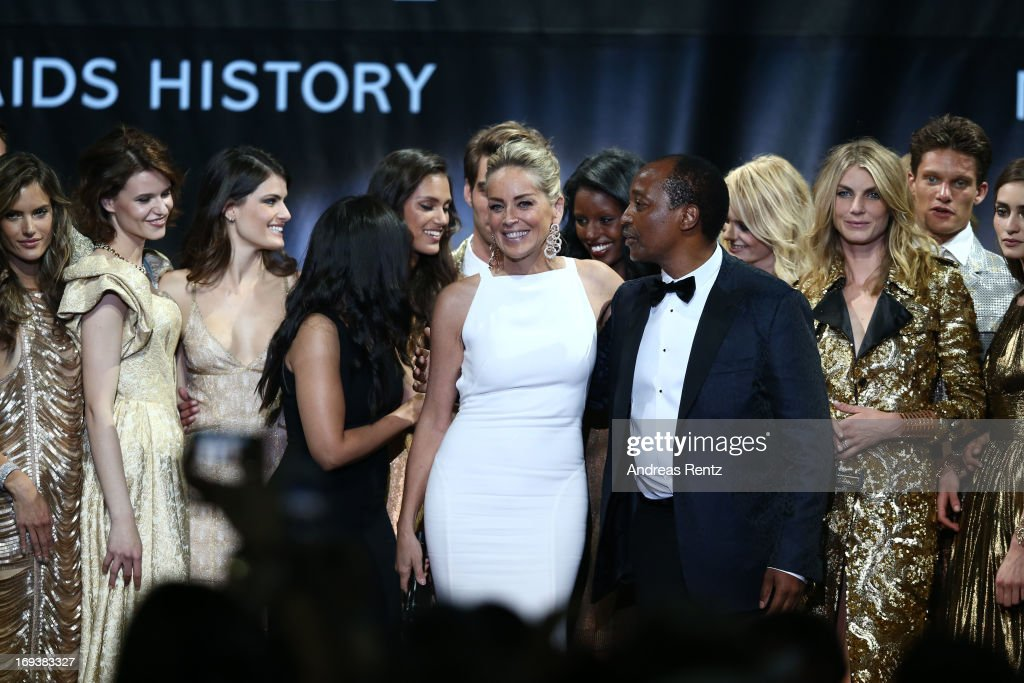 Sharon Stone appears on stage at amfAR's 20th Annual Cinema Against AIDS during The 66th Annual Cannes Film Festival at Hotel du Cap-Eden-Roc on May 23, 2013 in Cap d'Antibes, France.