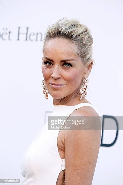 Sharon Stone arrives at amfAR's 20th Annual Cinema Against AIDS at Hotel du CapEdenRoc on May 23 2013 in Cap d'Antibes France
