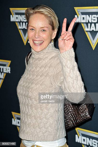 Sharon Stone arrives at the Monster Jam at Angel Stadium of Anaheim on January 16 2016 in Anaheim California