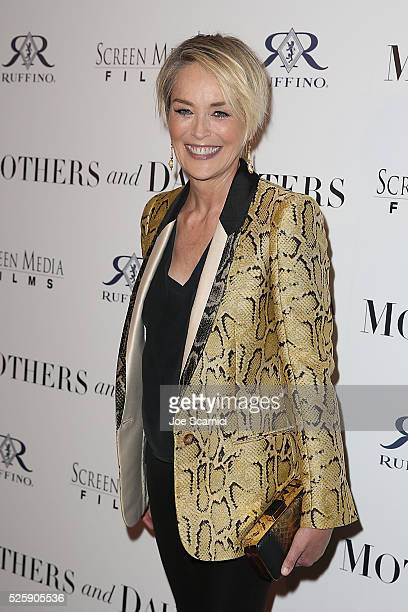 Sharon Stone arrives at the pemiere of Screen Media Film's 'MOTHERS AND DAUGHTERS' at The London West Hollywood on April 28 2016 in West Hollywood...