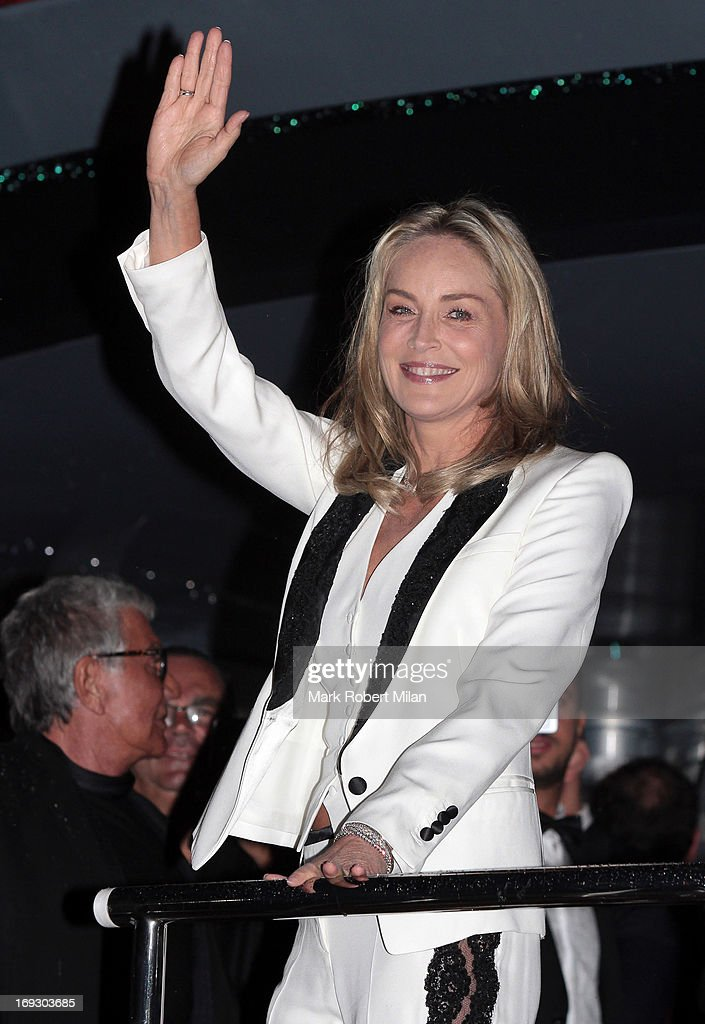 Sharon Stone attending the Roberto Cavalli the Yacht Party during The 66th Annual Cannes Film Festival on May 22, 2013 in Cannes, France.