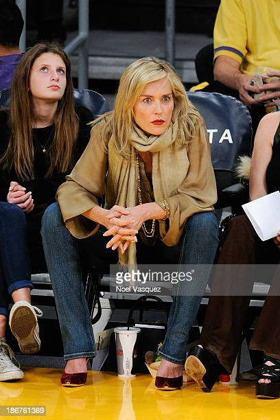Sharon Stone attends a basketball game between the Atlanta Hawks and the Los Angeles Lakers at Staples Center on November 3 2013 in Los Angeles...