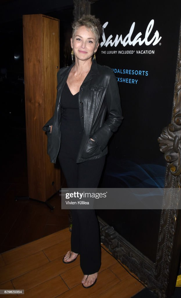 Sharon Stone attends a private event at Hyde Staples Center hosted by Sandals Resorts for the Ed Sheeran concert at Hyde Lounge at The Staples Center on August 10, 2017 in Los Angeles, California.