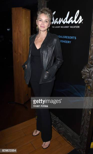 Sharon Stone attends a private event at Hyde Staples Center hosted by Sandals Resorts for the Ed Sheeran concert at Hyde Lounge at The Staples Center...