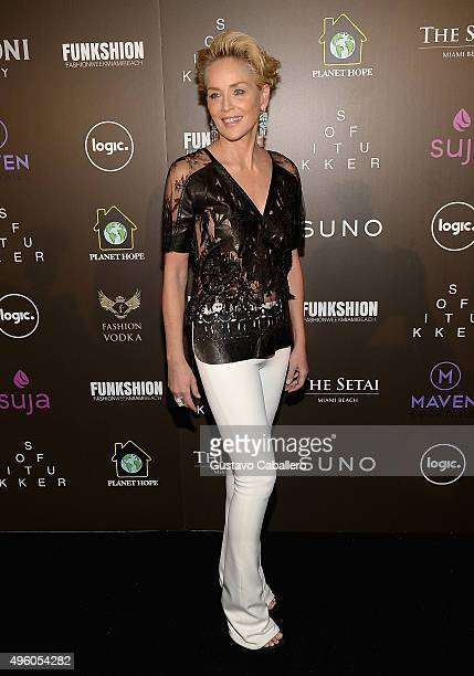 Sharon Stone attends FUNKSHION Fashion Week Miami Beach Celebration of Hope Event by Planet Hope Foundation at Setai Hotel on November 6 2015 in...