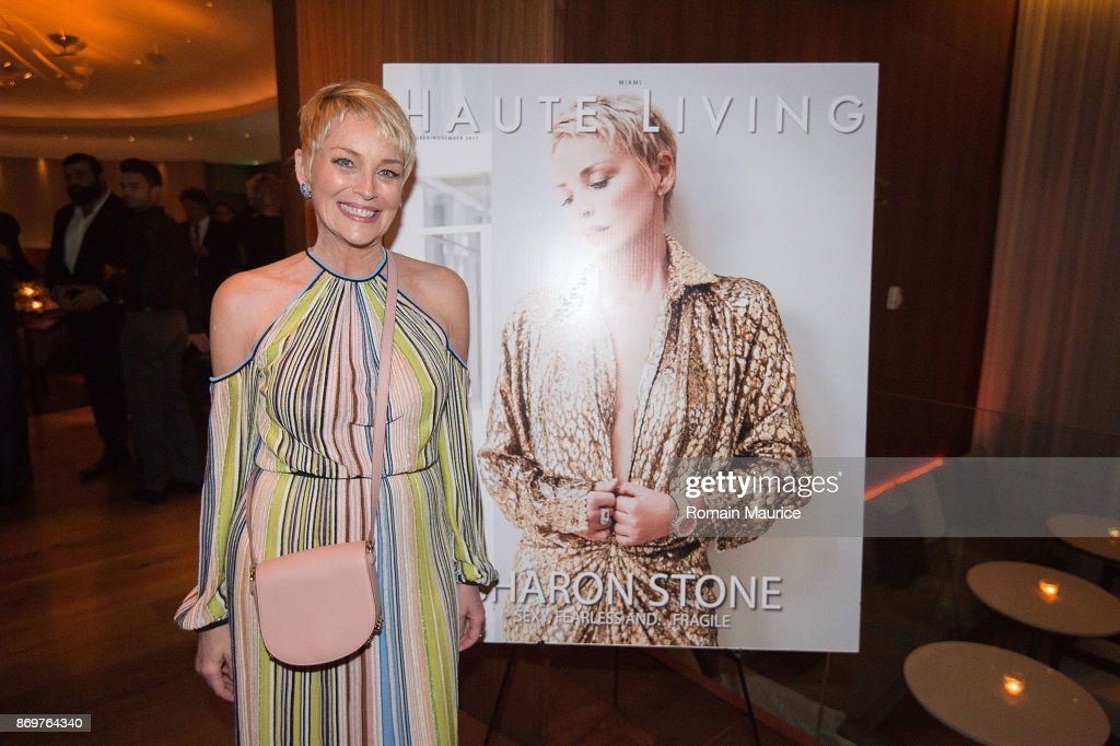Sharon Stone attends Haute Living Celebrates Sharon Stone With Hublot at The Matador Room at the Edition Hotel on November 2, 2017 in Miami Beach, Florida.