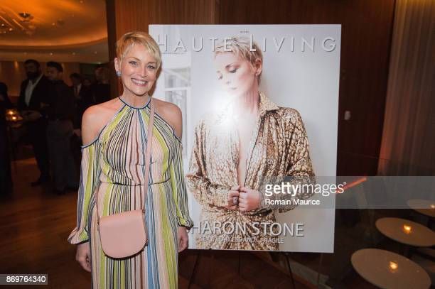 Sharon Stone attends Haute Living Celebrates Sharon Stone With Hublot at The Matador Room at the Edition Hotel on November 2 2017 in Miami Beach...