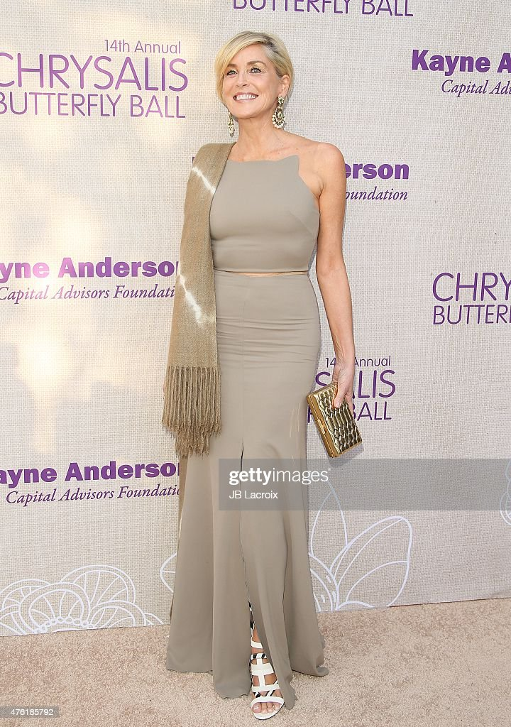 <a gi-track='captionPersonalityLinkClicked' href=/galleries/search?phrase=Sharon+Stone&family=editorial&specificpeople=156409 ng-click='$event.stopPropagation()'>Sharon Stone</a> attends the 14th annual Chrysalis Butterfly Ball sponsored by Audi, Kayne Anderson, Lauren B. Beauty and Z Gallerie on June 6, 2015 in Los Angeles, California.