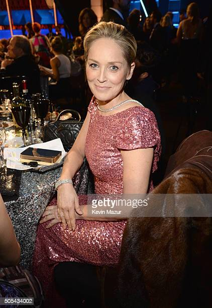 Sharon Stone attends the 21st Annual Critics' Choice Awards at Barker Hangar on January 17 2016 in Santa Monica California
