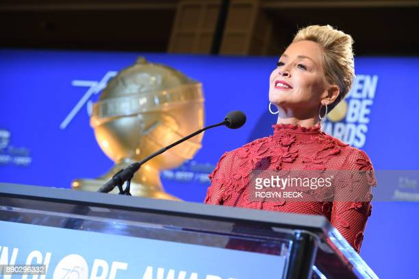 Sharon Stone attends the 75th Annual Golden Globe Awards nomination announcement December 11 at the Beverly Hilton Hotel in Beverly Hills California...