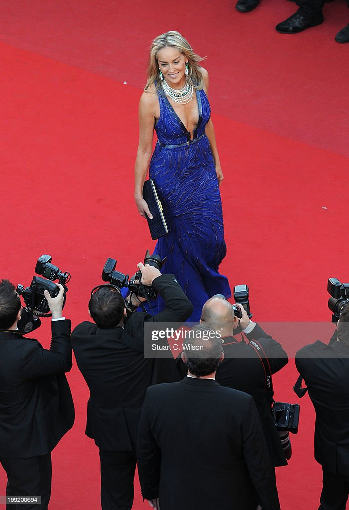 Sharon Stone attends the 'Behind The Candelabra' premiere during The 66th Annual Cannes Film Festival at Theatre Lumiere on May 21, 2013 in Cannes, France.