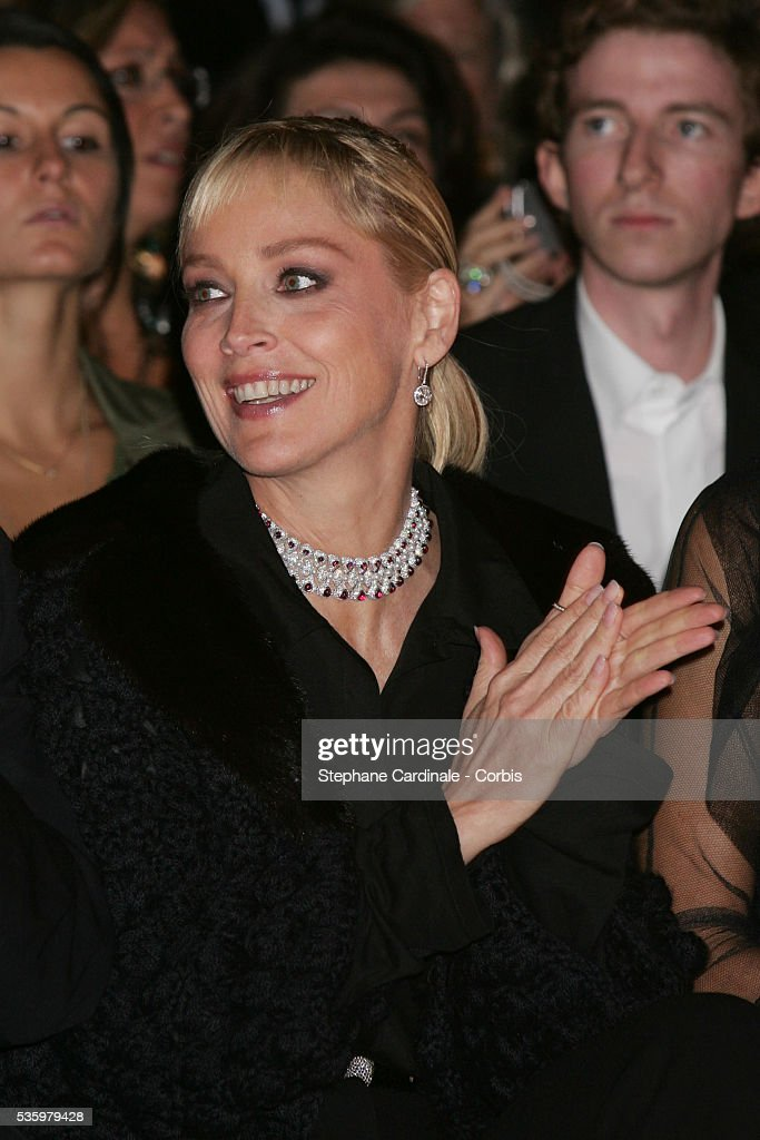 Sharon Stone attends the Christian Dior ready-to-wear Spring-Summer 2006 fashion show.