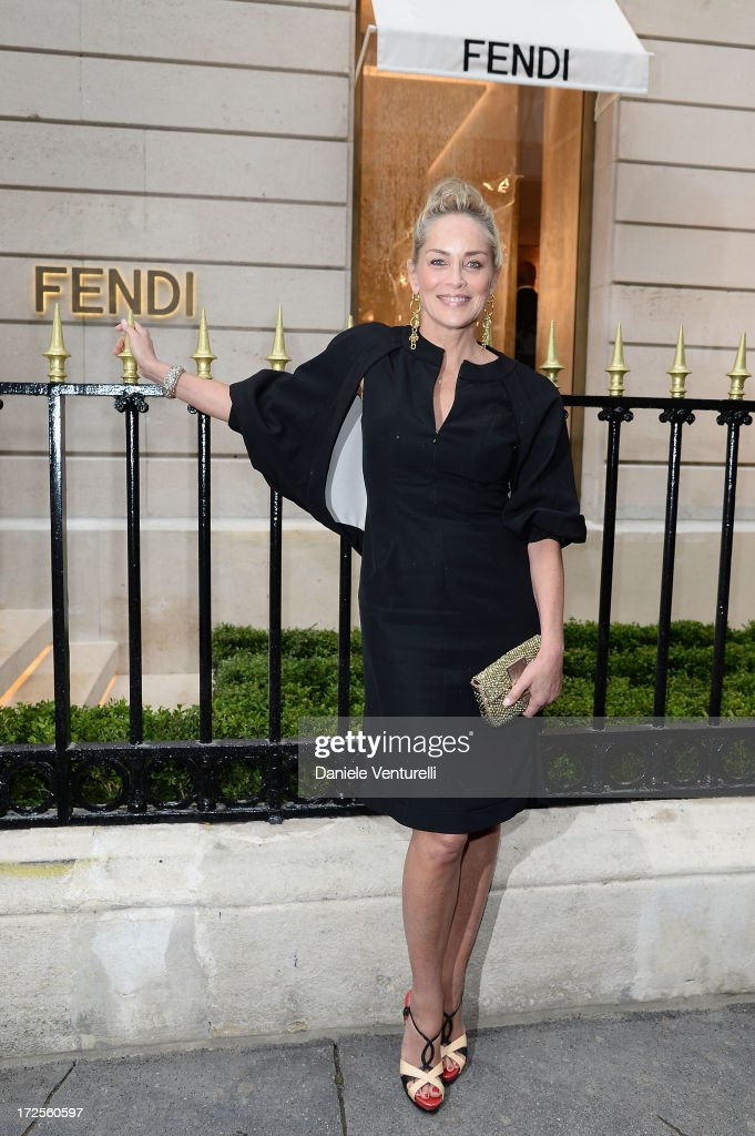 <a gi-track='captionPersonalityLinkClicked' href=/galleries/search?phrase=Sharon+Stone&family=editorial&specificpeople=156409 ng-click='$event.stopPropagation()'>Sharon Stone</a> attends the opening of Fendi's new boutique at 51 Avenue Montaine on July 3, 2013 in Paris, France.