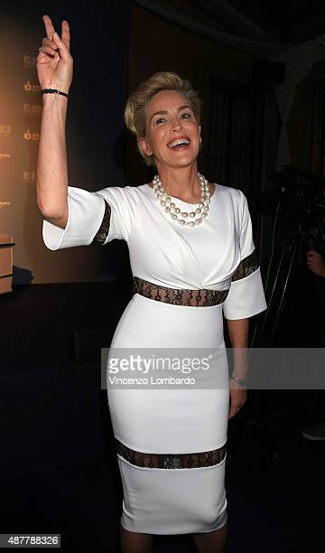 Sharon Stone attends the Pilosio Building Peace Award at Palazzo Clerici on September 11 2015 in Milan Italy