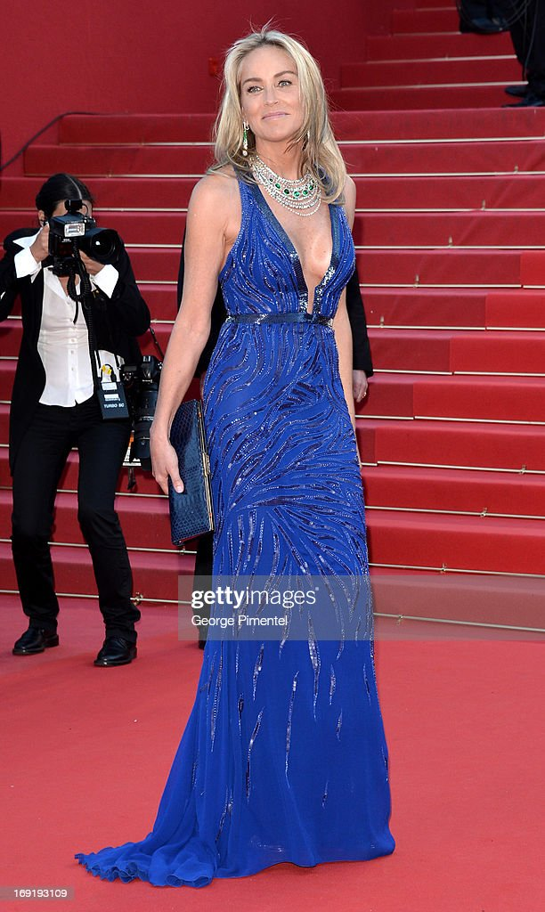 Sharon Stone attends the Premiere of 'Behind the Candelabra' at The 66th Annual Cannes Film Festival on May 21, 2013 in Cannes, France.