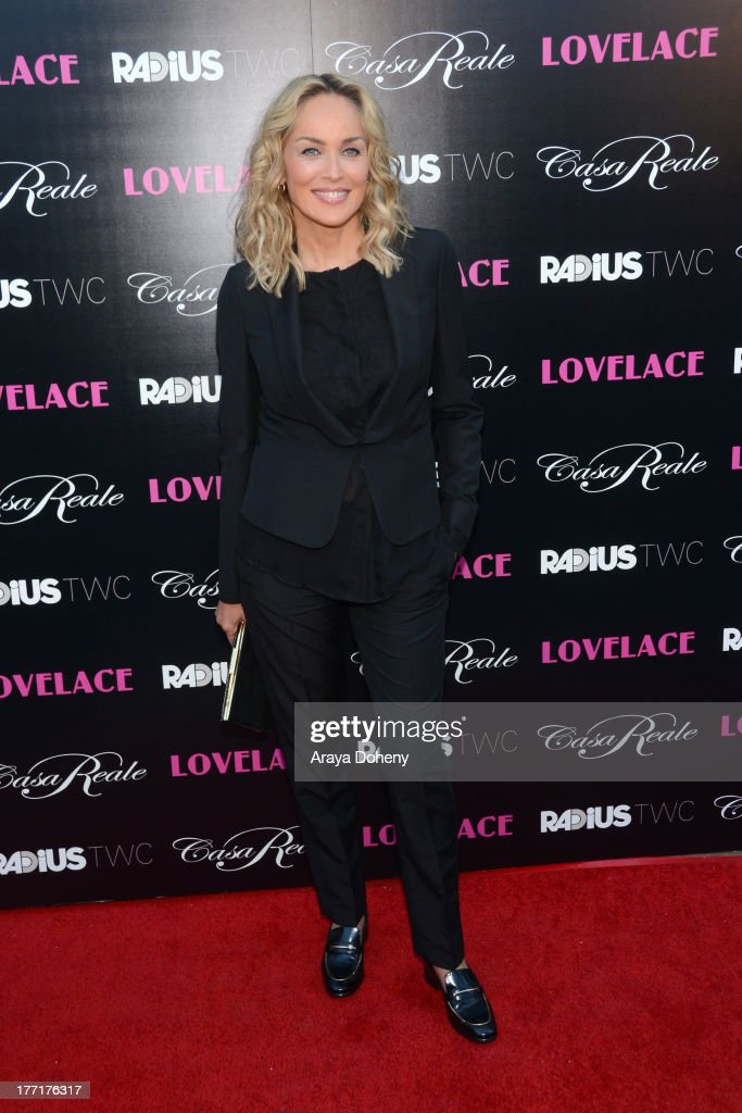 Sharon Stone attends the premiere of RADiUS-TWC's 'Lovelace' at the Egyptian Theatre on August 5, 2013 in Hollywood, California.