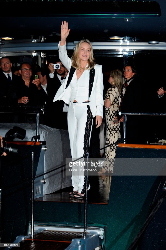 Sharon Stone attends the Roberto Cavalli Yacht Party during The 66th Annual Cannes Film Festival on May 22, 2013 in Cannes, France.