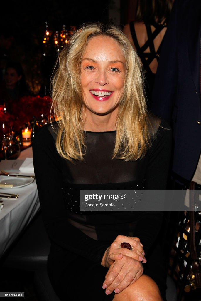Sharon Stone attends W's Stefano Tonchi and Catherine Keener celebrate W's 40th Anniversary and the Book Release of 'W: The First 40 Years' at Spago on October 24, 2012 in Beverly Hills, California.