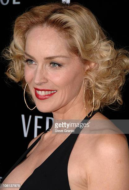 Sharon Stone during Gianni And Donatella Versace Receive Rodeo Drive Walk Of Style Award Arrivals at Beverly Hills City Hall in Beverly Hills...